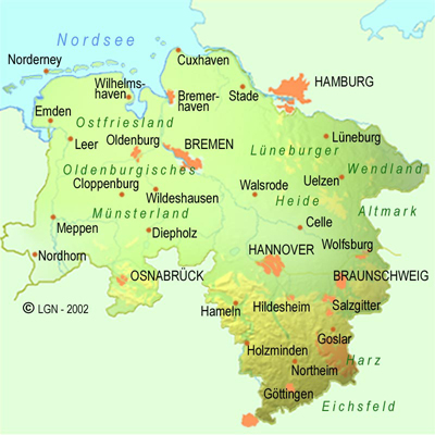 Lowersaxonymapjpg - Germany map gottingen